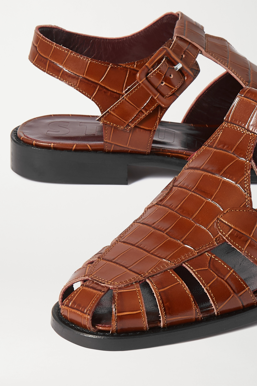 STAUD Chaussures plates en cuir effet croco à découpes Brady