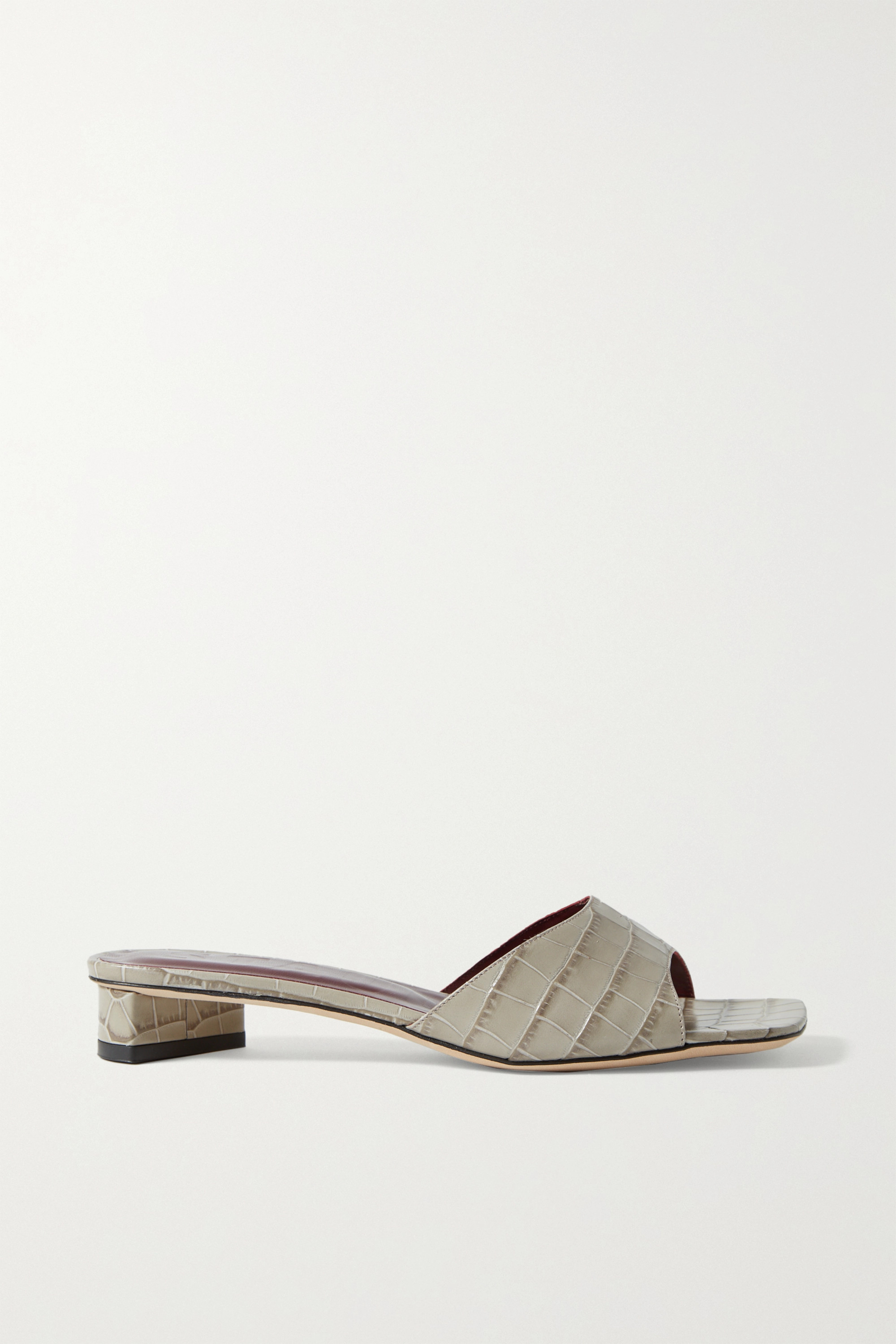 Staud Women's Simone Croc-embossed Leather Mules In Gray