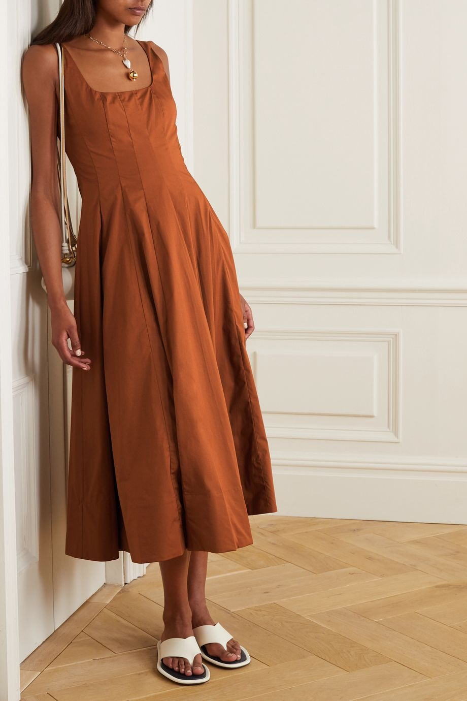 STAUD Pleated cotton-blend poplin maxi dress