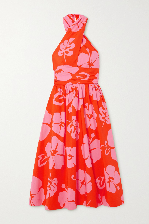 STAUD Moana printed stretch-cotton poplin halterneck midi dress