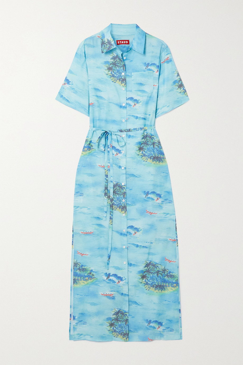 STAUD Printed woven shirt dress