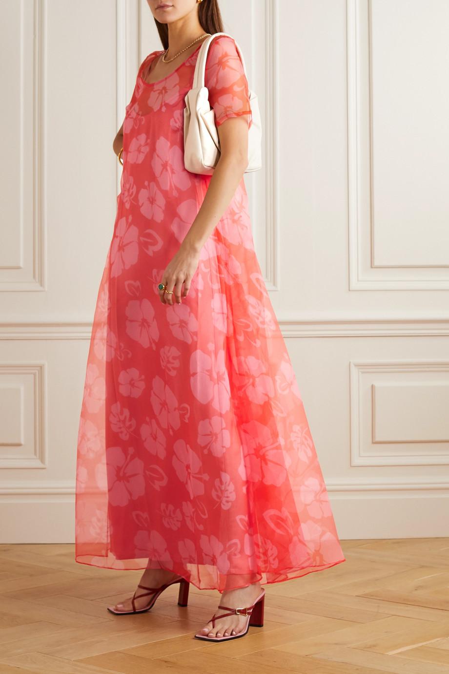 STAUD Floral-print organza maxi dress