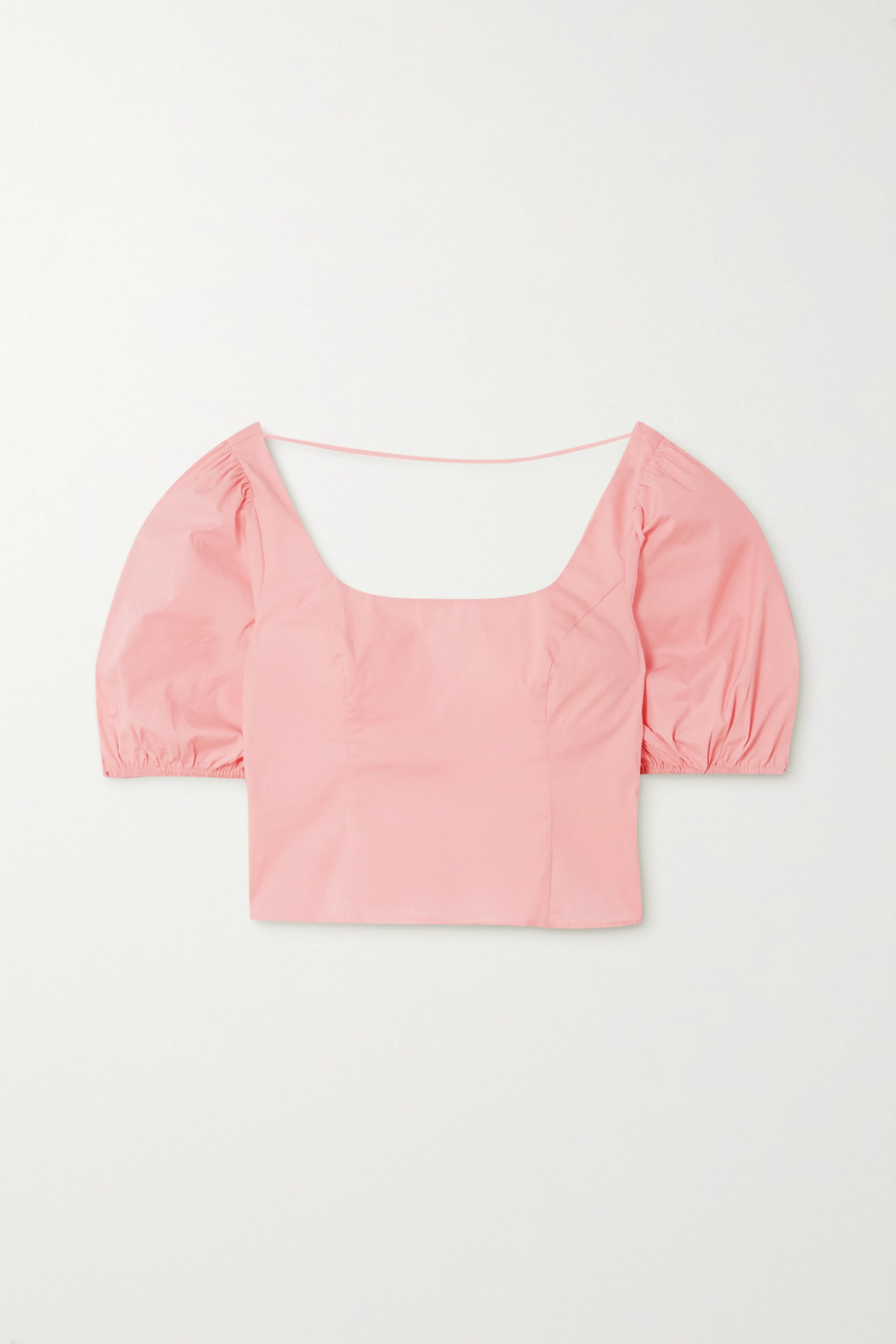 STAUD Papaya cropped cotton-blend poplin top