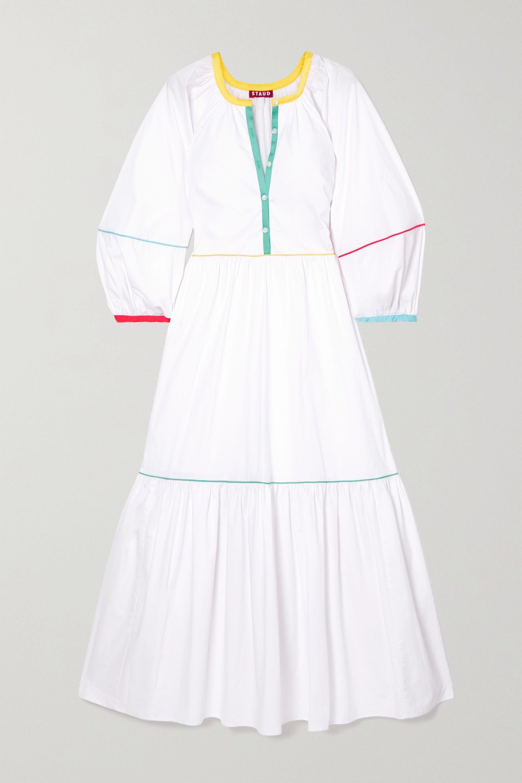STAUD Tiered cotton-blend poplin maxi dress