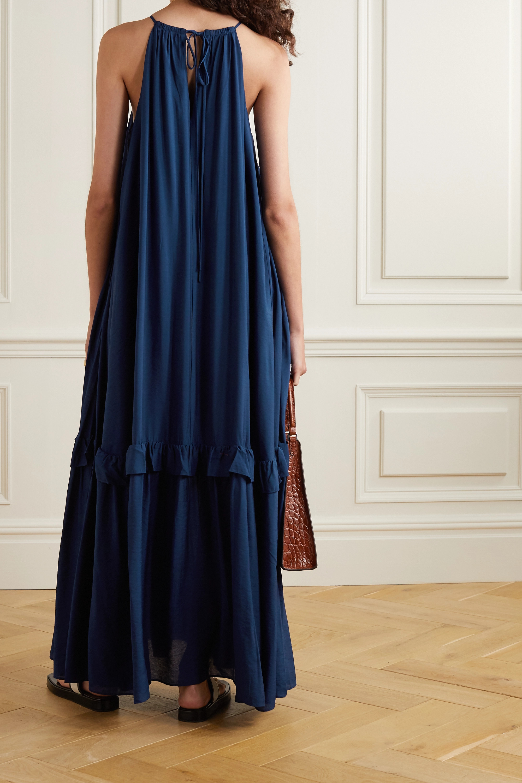 STAUD Halterneck tiered woven maxi dress