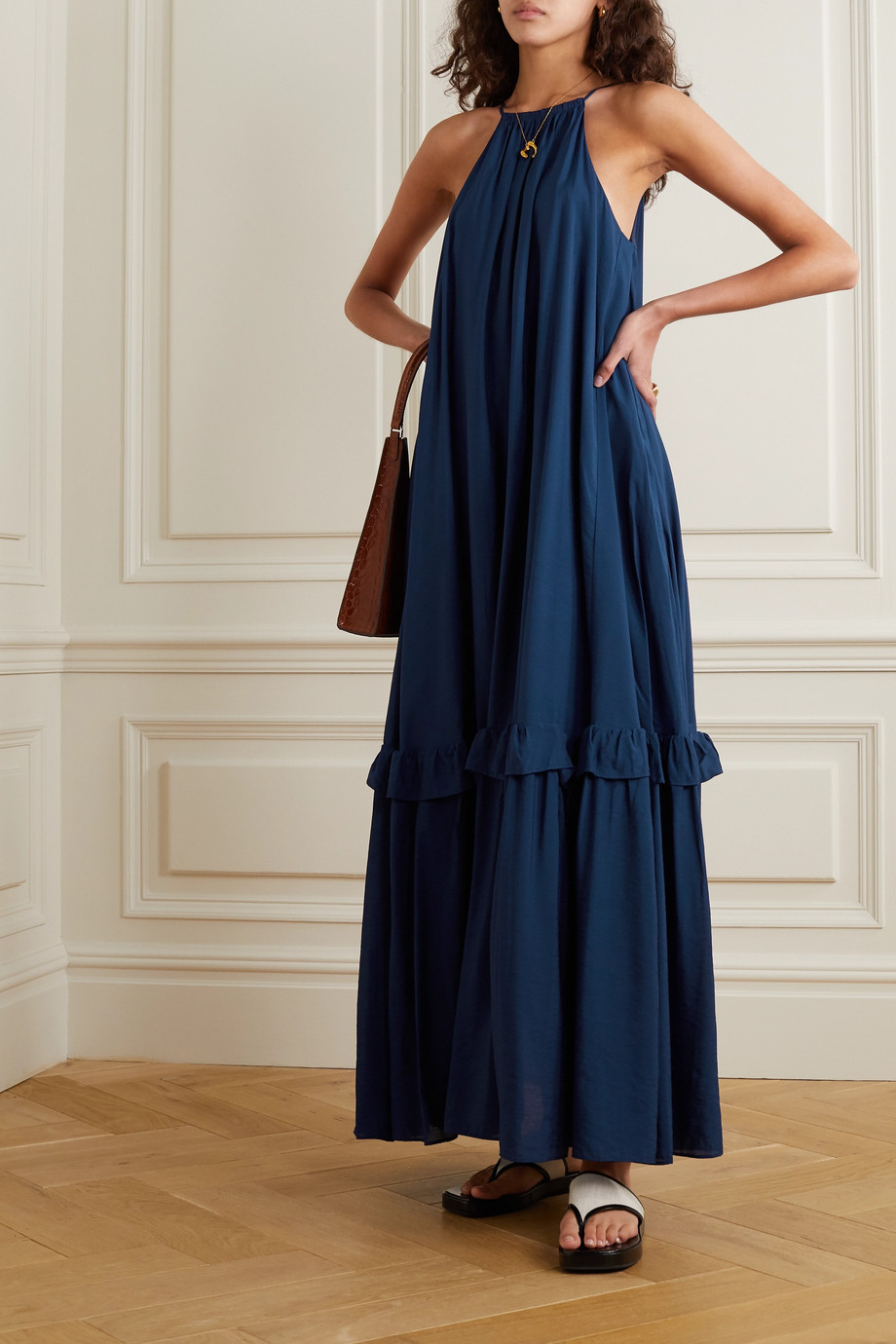 STAUD Halterneck tiered woven maxi dress