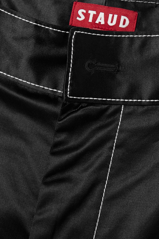 STAUD Joss cotton-blend satin shorts