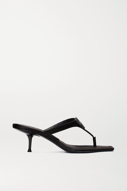 Black Bianca embellished satin sandals