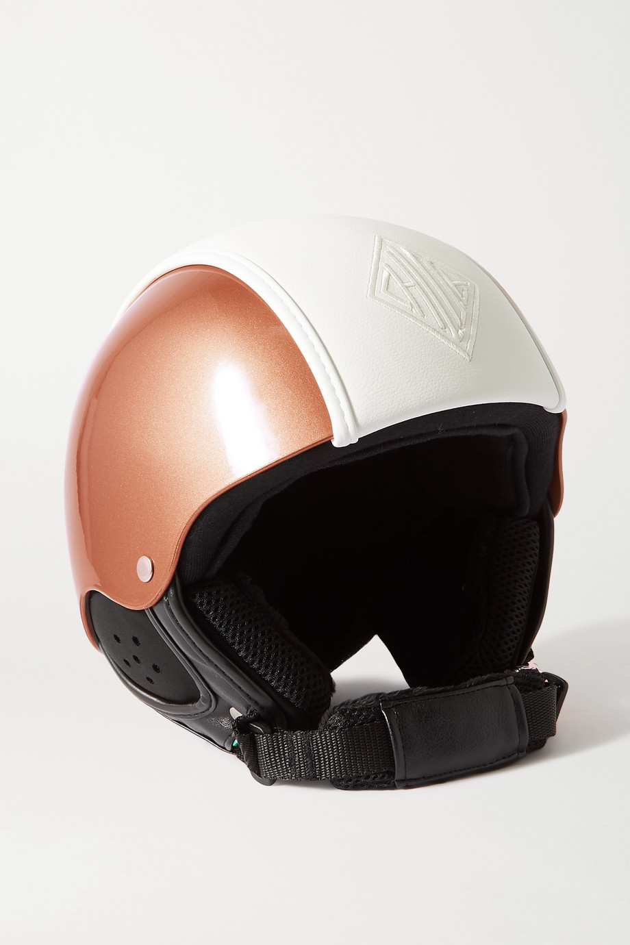 Chloé + Fusalp embroidered leather-paneled ski helmet