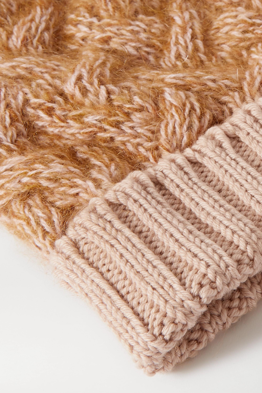 Chloé Beanie aus einer melierten Wollmischung in Zopfstrick