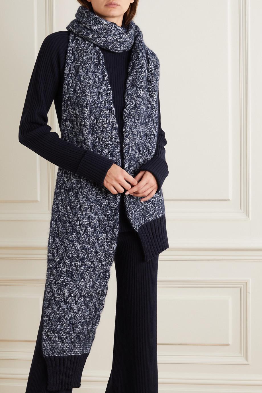 Chloé Écharpe en laine mélangée chinée à mailles torsadées