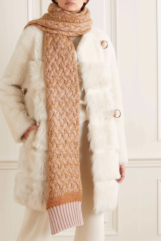 Chloé Cable-knit mélange wool-blend scarf