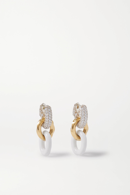 Bottega Veneta Silver and gold-tone, enamel and crystal earrings