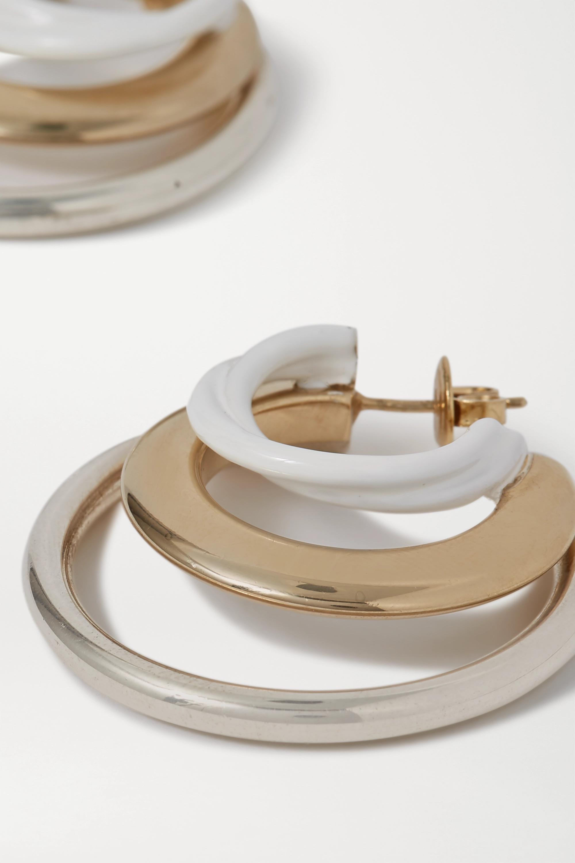 Bottega Veneta Silber- und goldfarbene Creolen mit Emaille