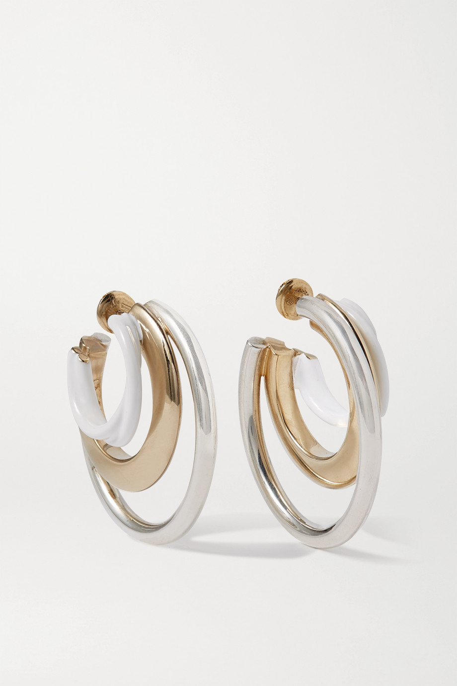 Bottega Veneta Silver and gold-tone and enamel hoop earrings
