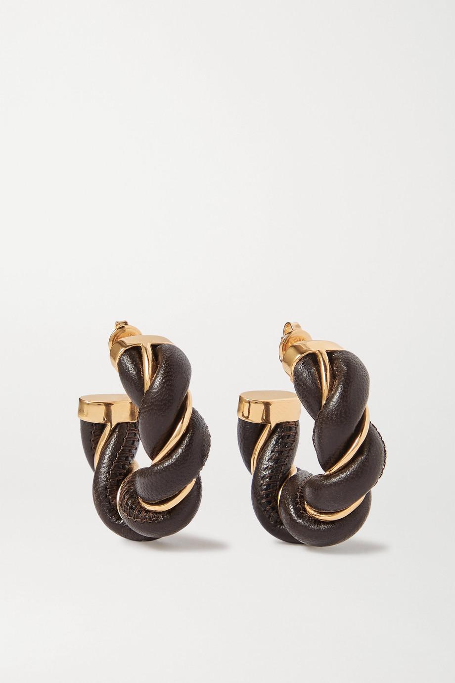 Bottega Veneta Gold-tone and leather hoop earrings