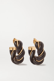 Bottega Veneta Gold-tone and leather hoop earrings