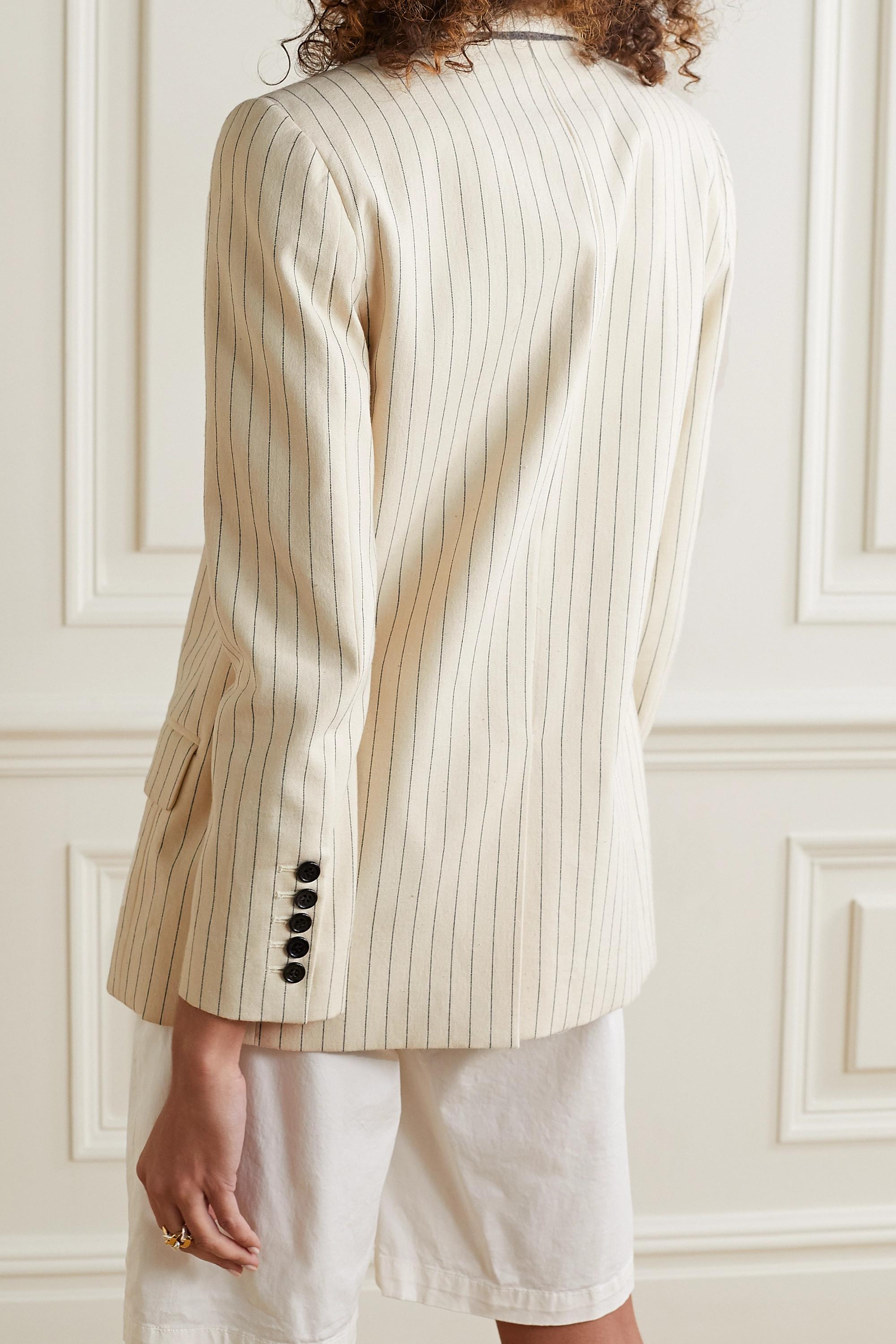 Nili Lotan Blazer en toile de coton à fines rayures Don