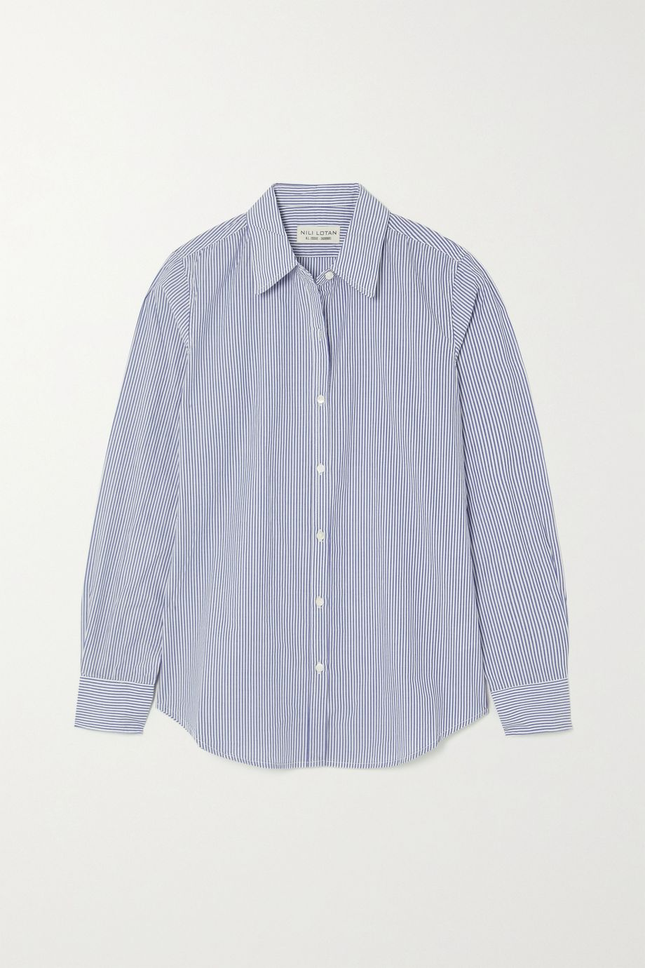 Nili Lotan Libby striped cotton-poplin shirt