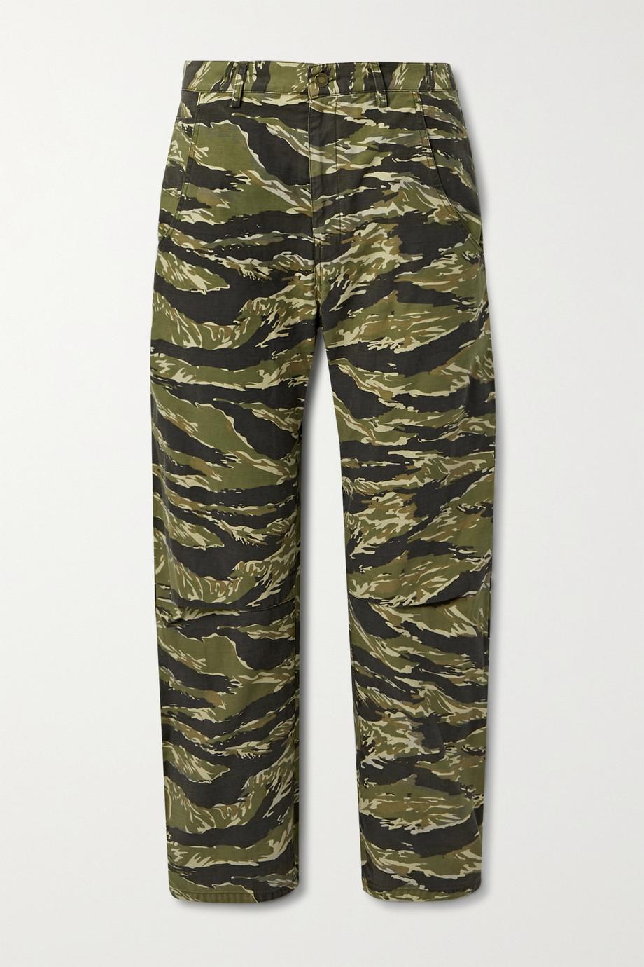 Nili Lotan Pantalon droit en toile de coton imprimée Emerson