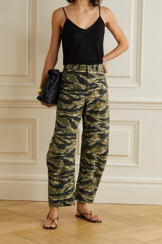 Army Green Emerson Printed Cotton-canvas Straight-leg Pants | Nili Lotan
