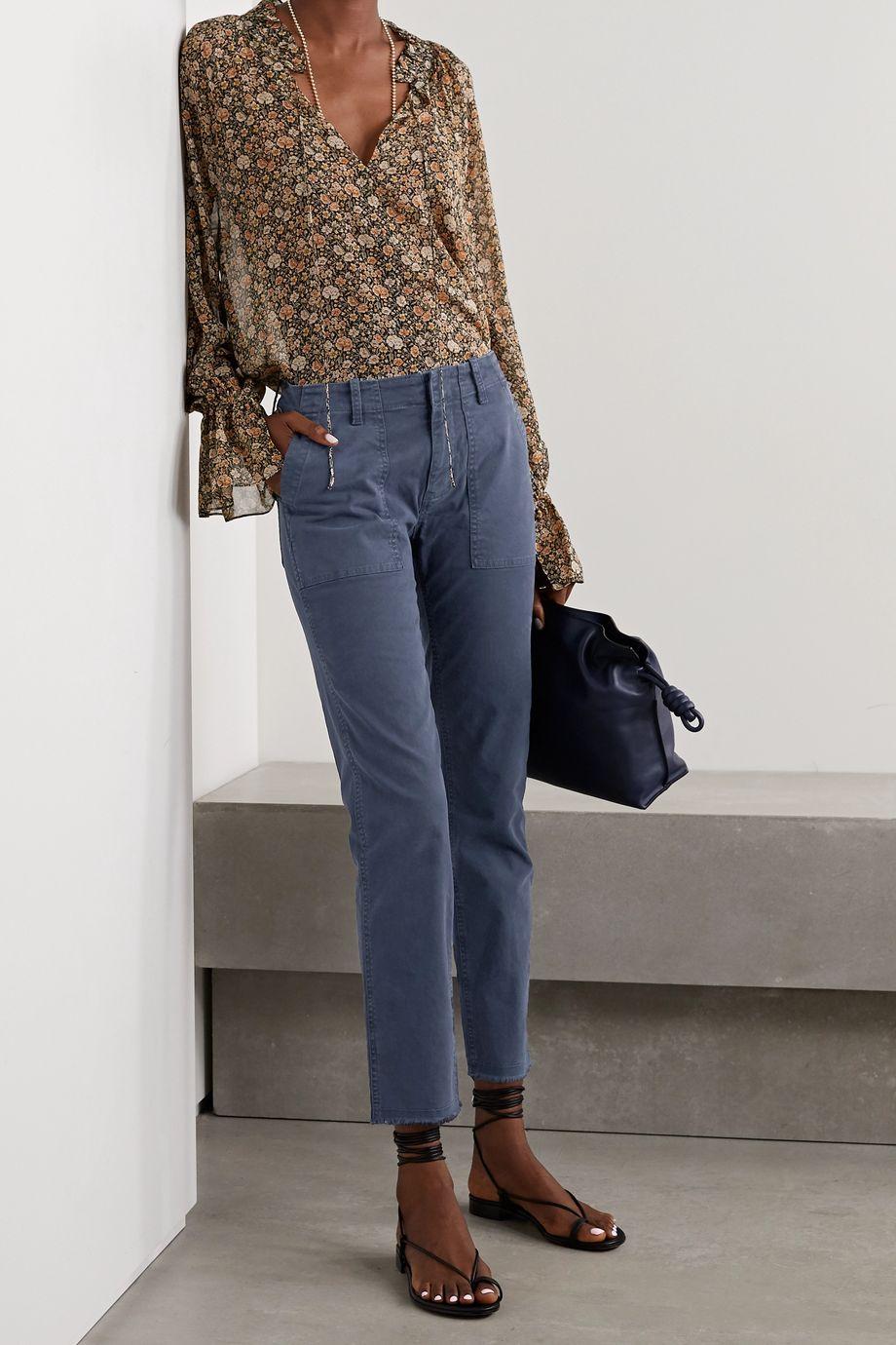Nili Lotan Jenna cropped frayed cotton-blend twill slim-leg pants