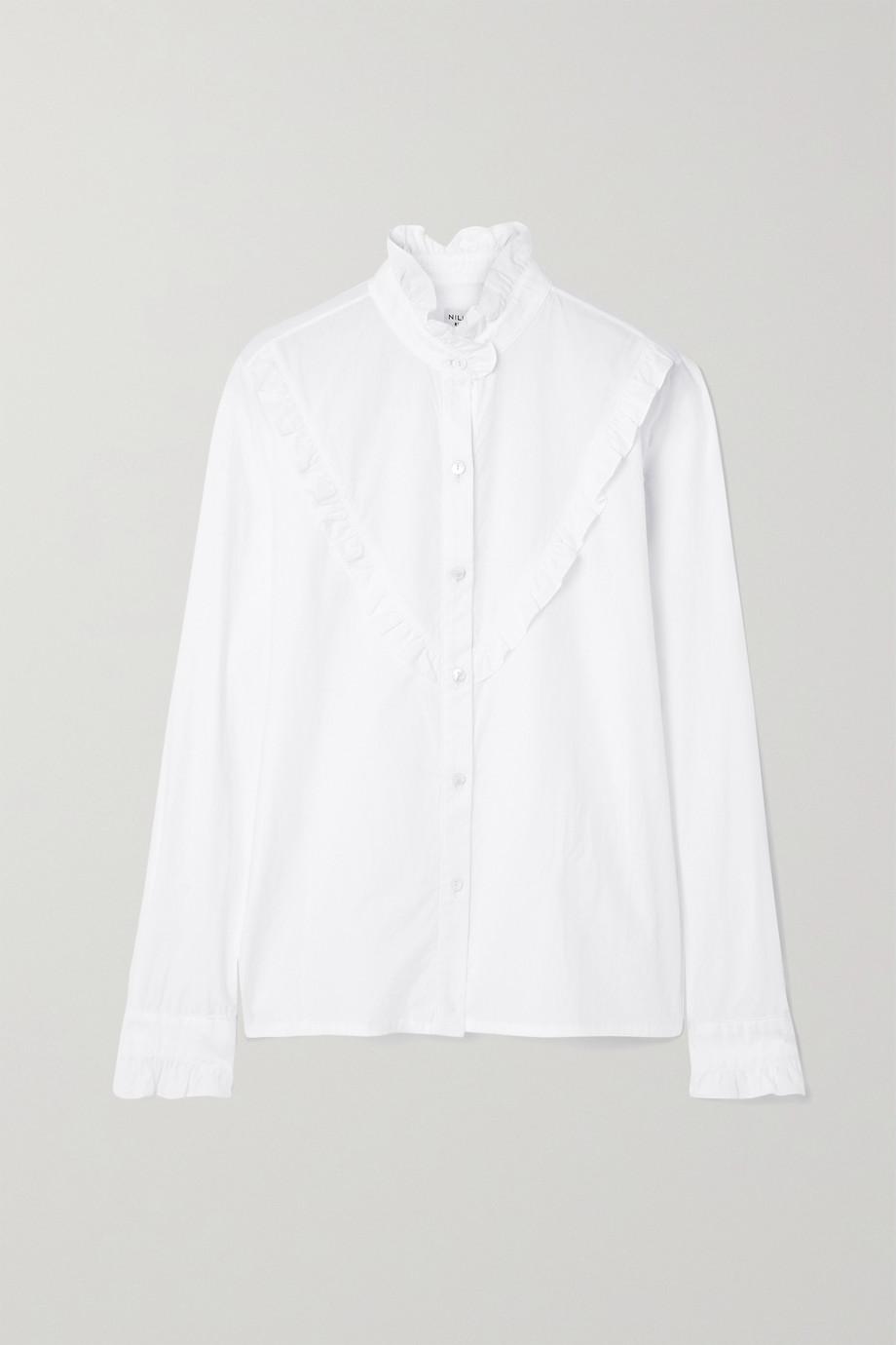 Nili Lotan Marcela Hemd aus Baumwollpopeline mit Rüschen