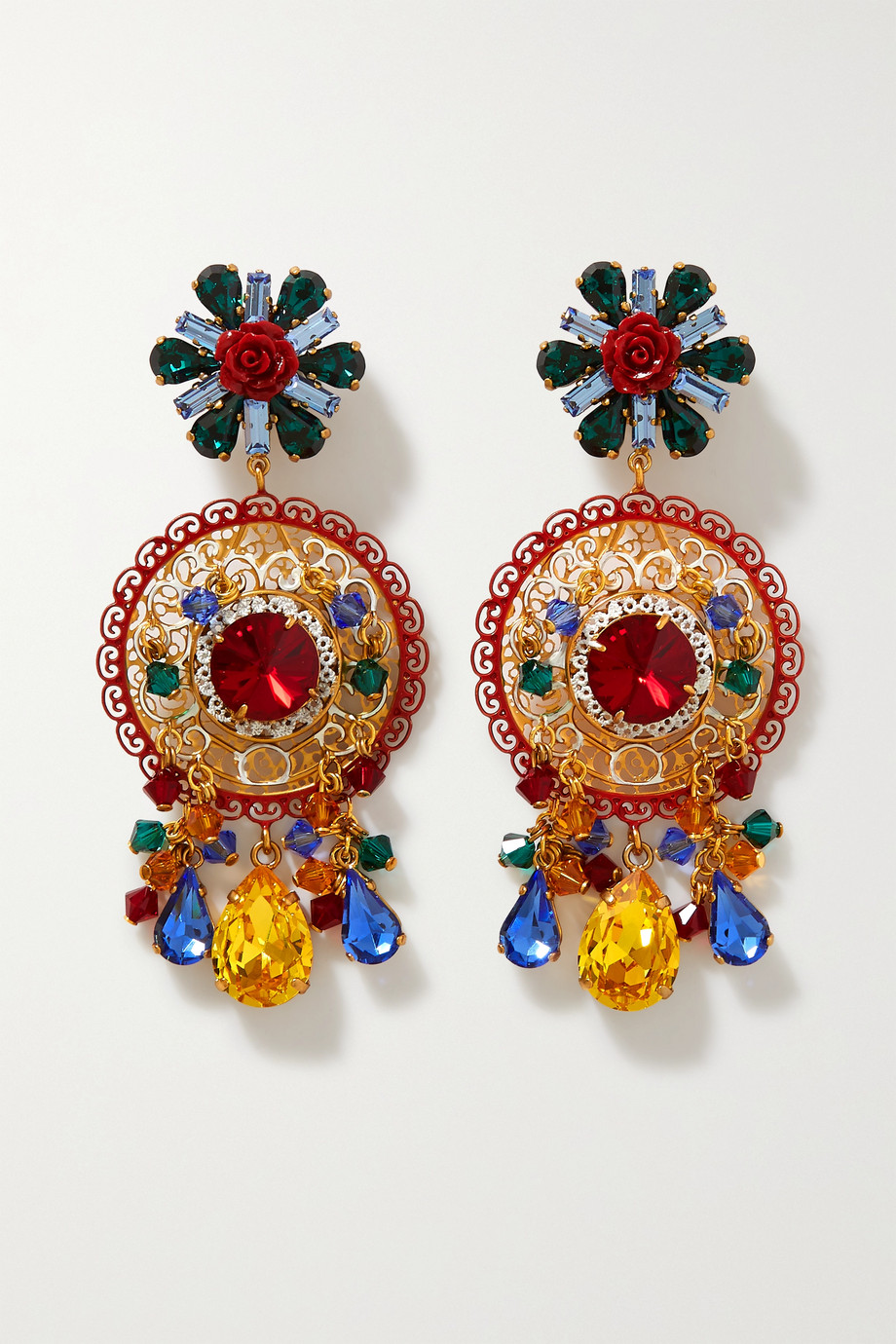 Dolce & Gabbana Gold-tone, crystal and resin clip earrings