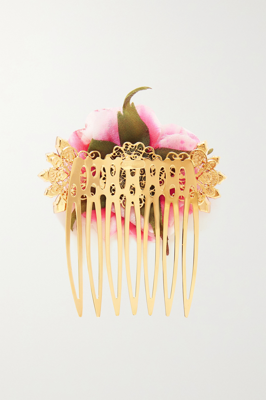 Dolce & Gabbana Goldfarbener Haarkamm mit Seide und Kristallen