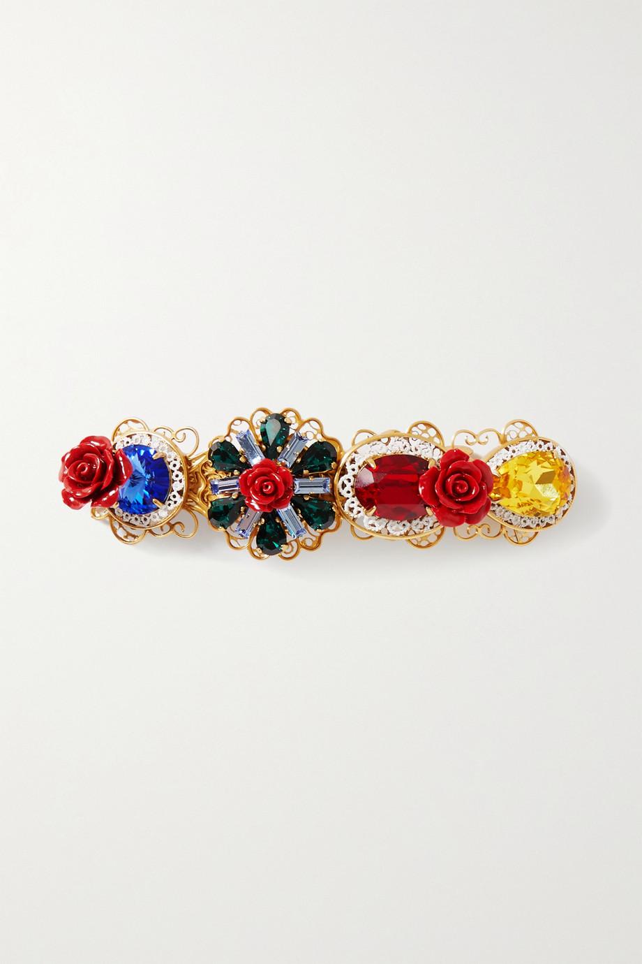 Dolce & Gabbana Crystal-embellished gold-tone hair clip