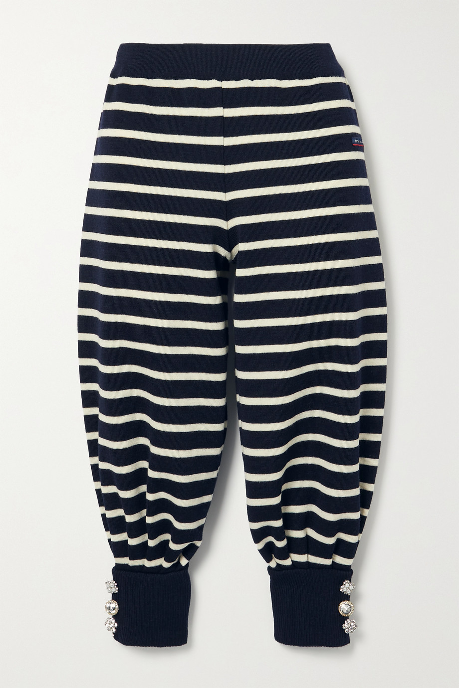 THE Marc Jacobs + Armor-Lux cropped embellished striped wool track pants