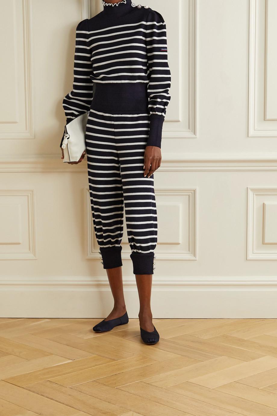 THE Marc Jacobs + Armor-Lux Pullover aus gestreifter Wolle mit Stehkragen und Verzierungen