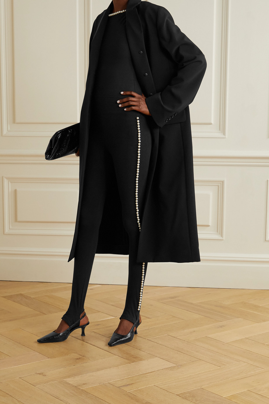THE Marc Jacobs x Capezio 人造珍珠缀饰弹力棉质平纹布踩脚打底裤