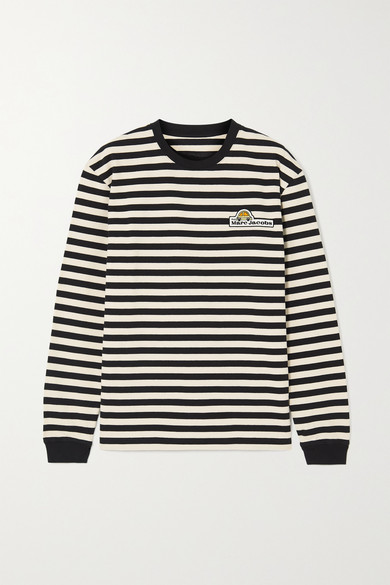 THE Marc Jacobs - Appliqued Striped Cotton-jersey Top - Black