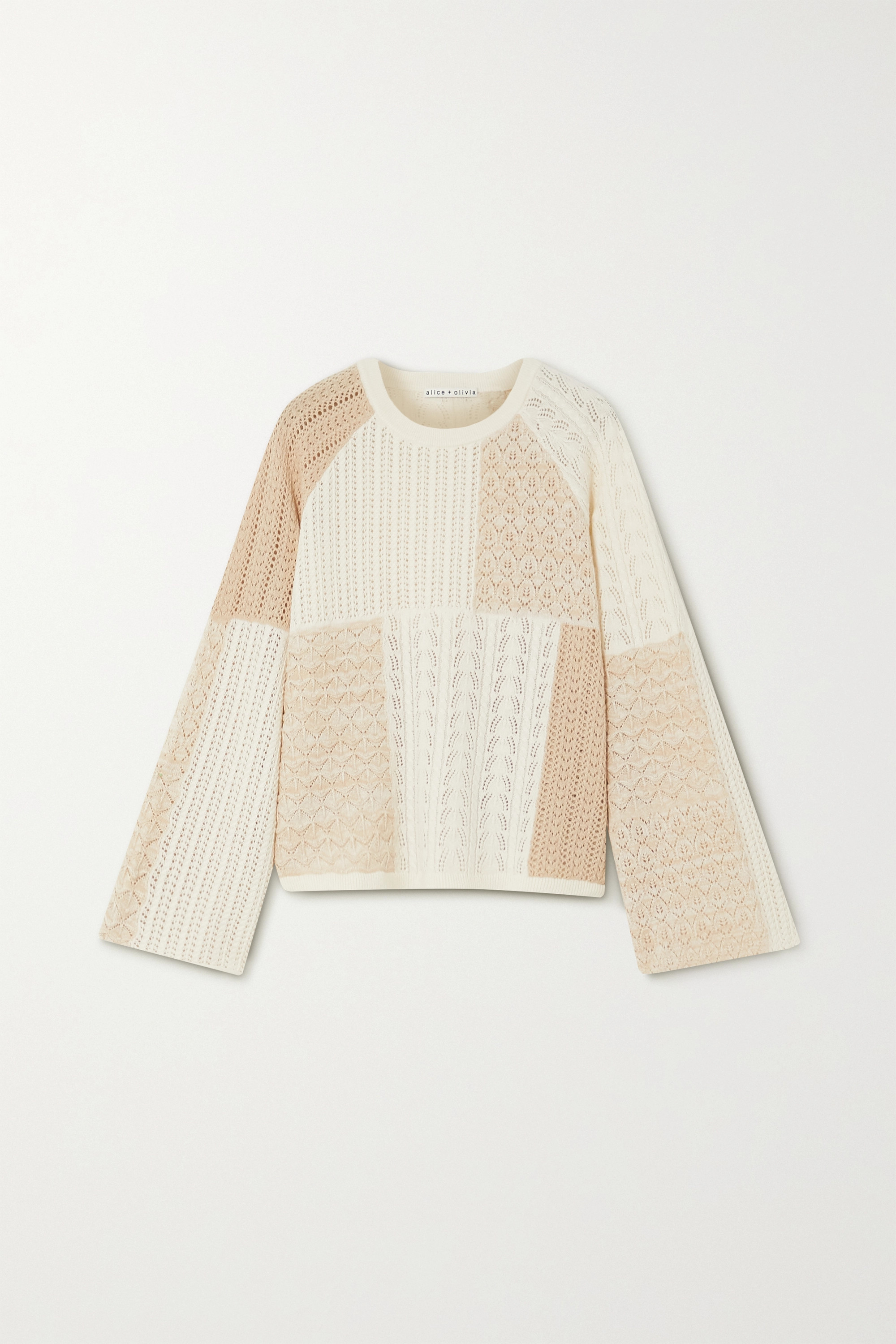 Alice + Olivia Martha Pullover aus Pointelle-Strick aus einer Wollmischung in Patchwork-Optik