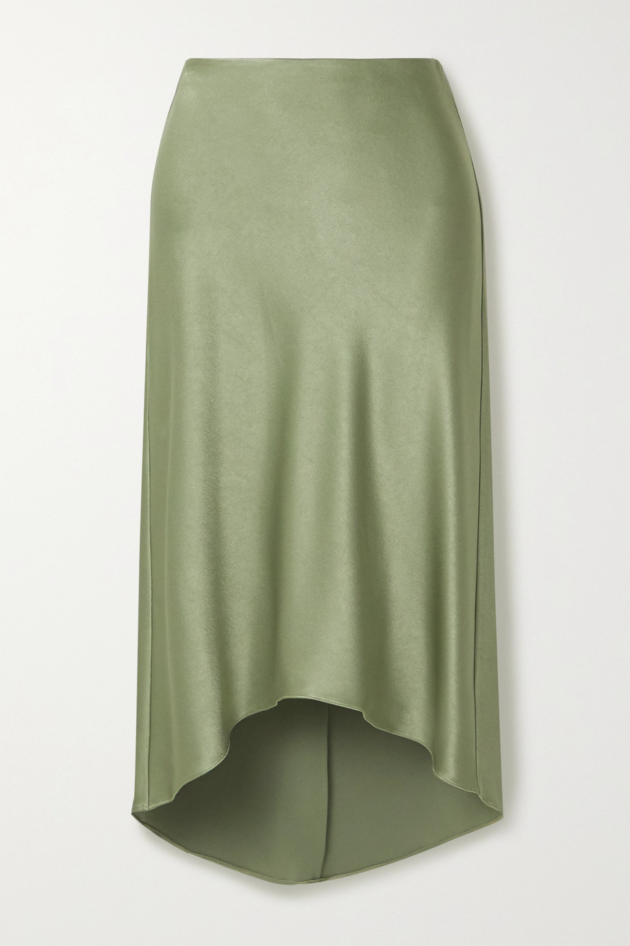 Alice + Olivia Maeve asymmetric hammered-satin midi skirt