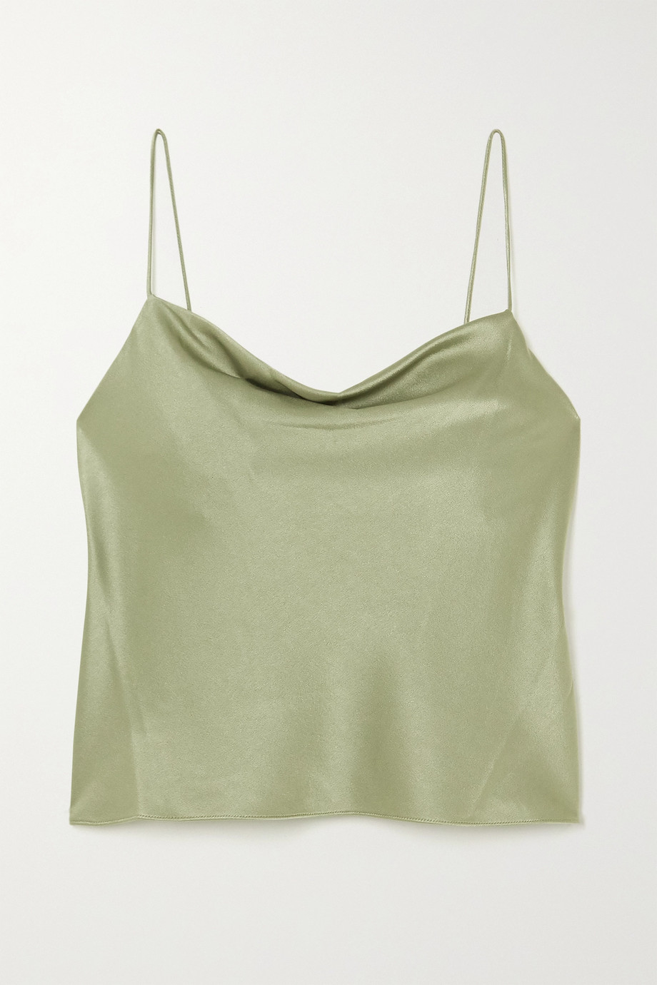 Alice + Olivia Harmon draped hammered-satin camisole
