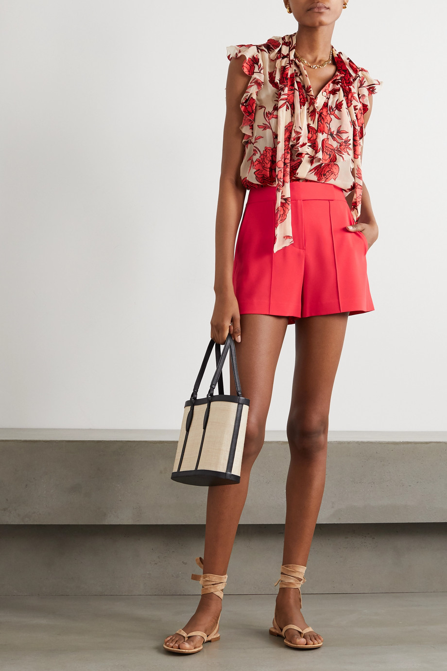 Alice + Olivia Dylan pintucked crepe shorts