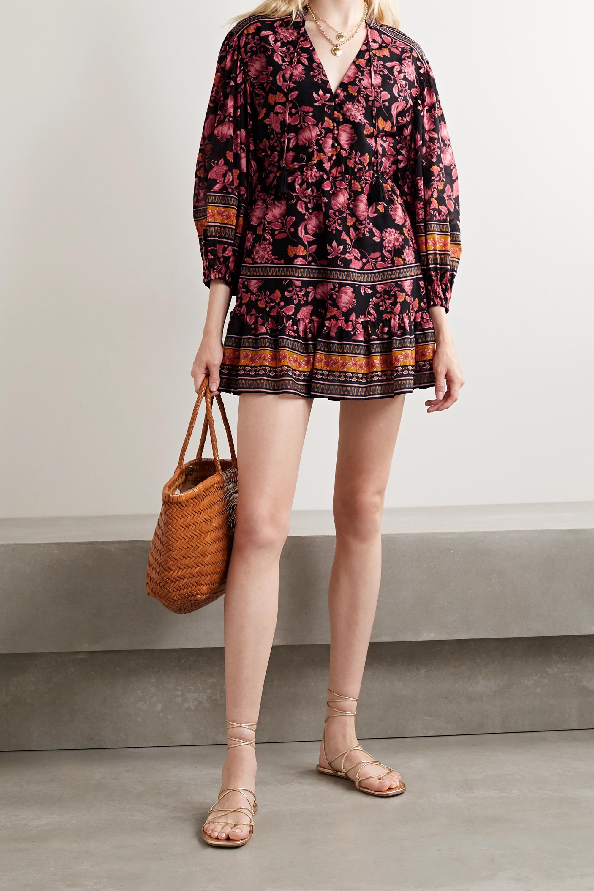 Alice + Olivia Sedona Minikleid aus einer Baumwoll-Seidenmischung mit Blumenprint