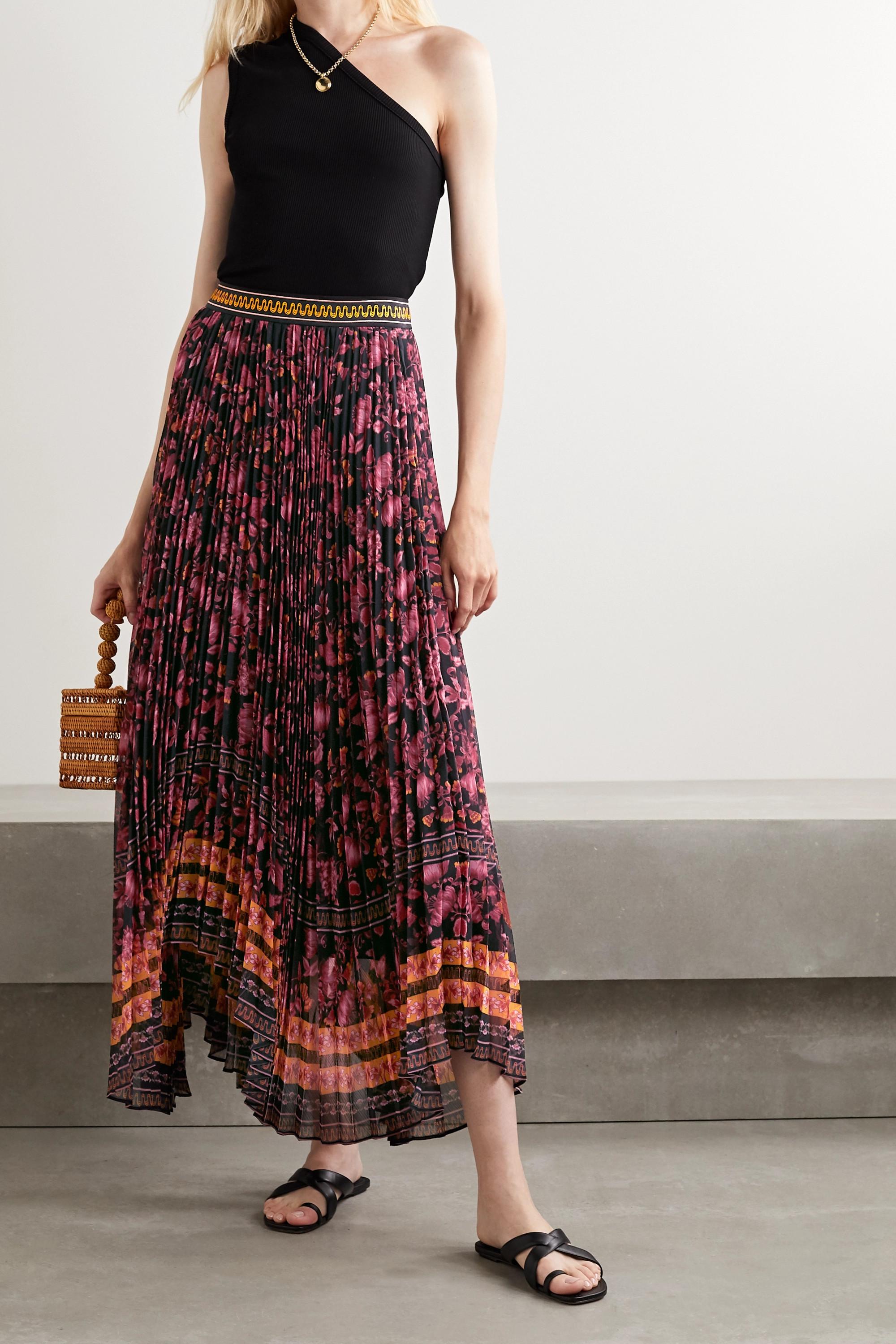 Alice + Olivia Katz asymmetric pleated floral-print crepe skirt