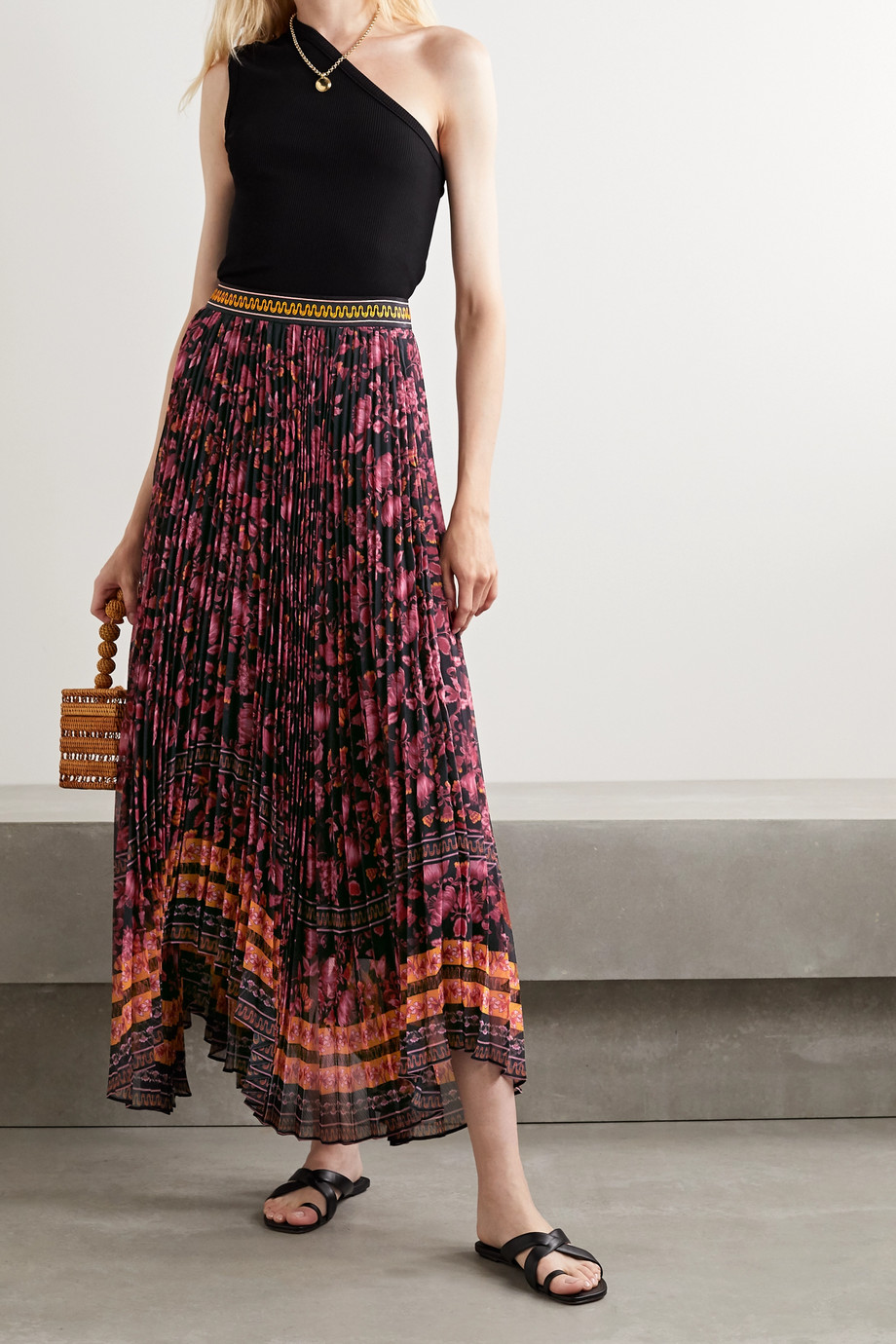Alice + Olivia Katz asymmetric pleated floral-print crepe skirt