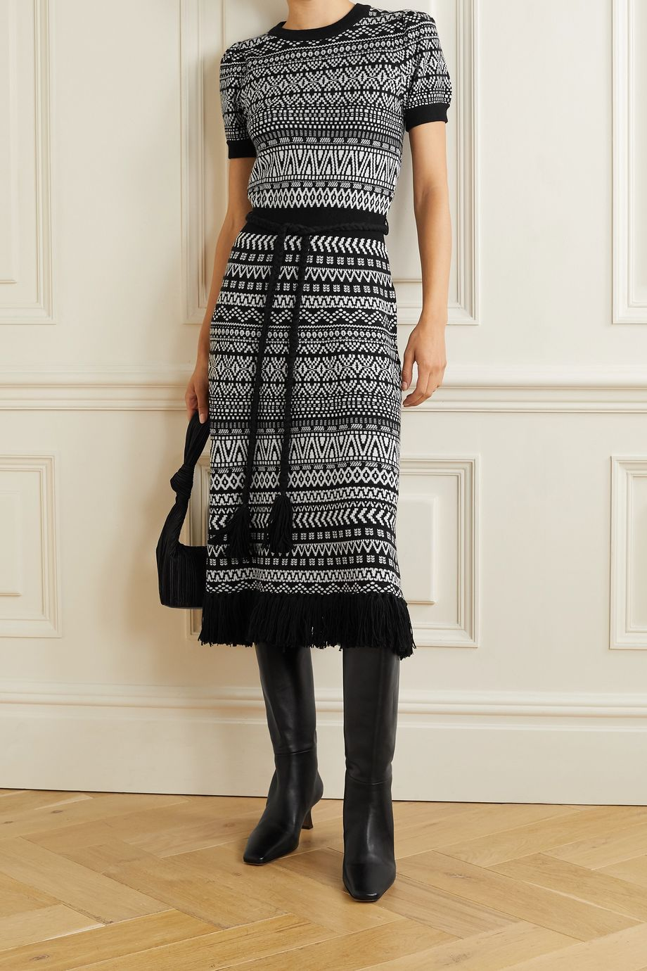 Alice + Olivia Julia belted fringed wool-blend jacquard midi dress