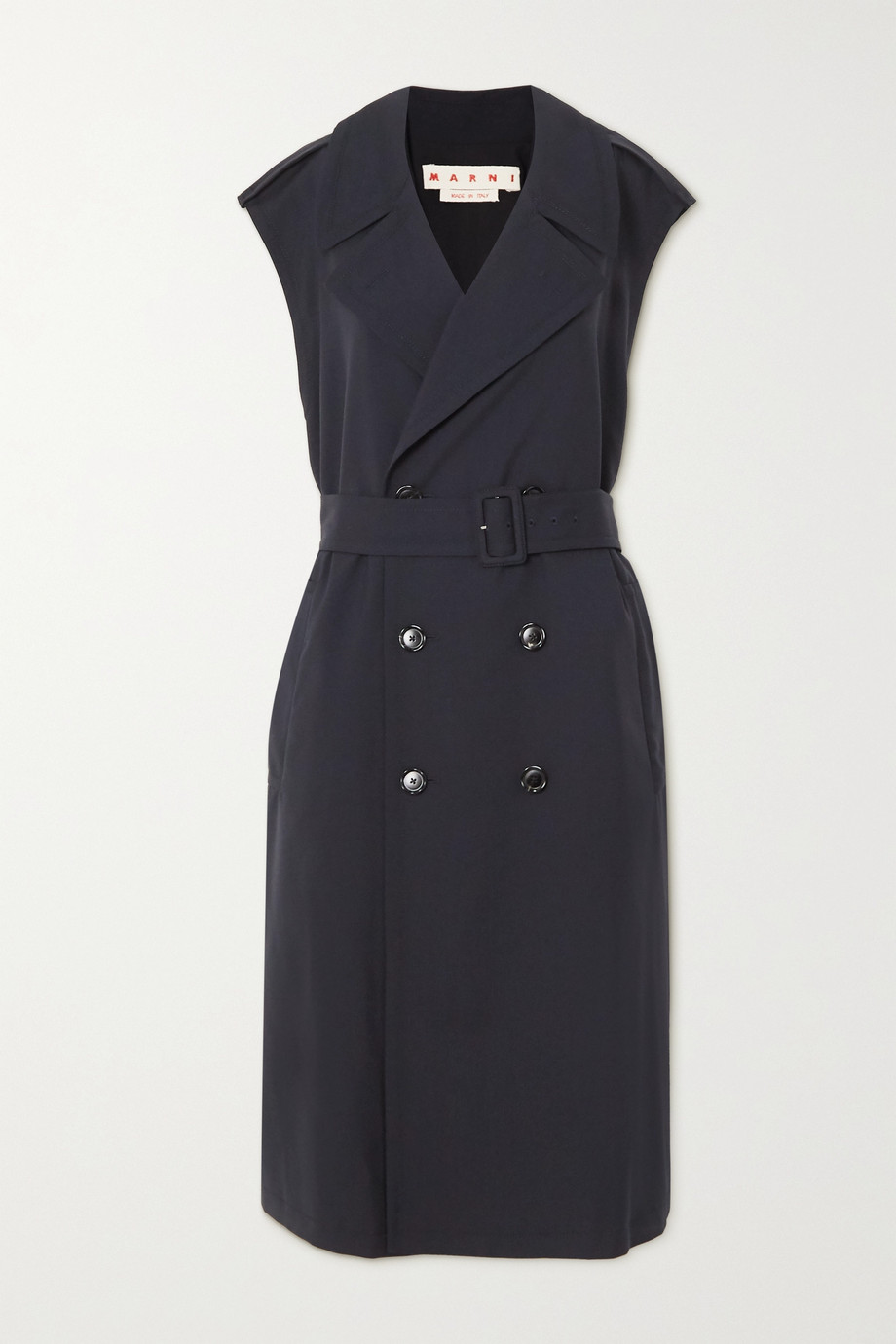 Marni Belted double-breasted wool-gabardine trench coat