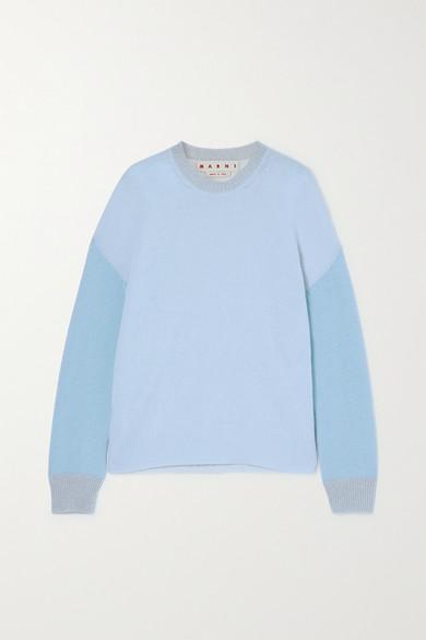 Marni - Color-block Cashmere Sweater - Light blue
