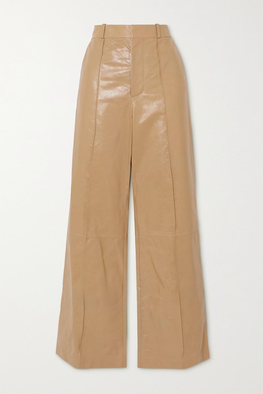 Marni Pintucked leather wide-leg pants