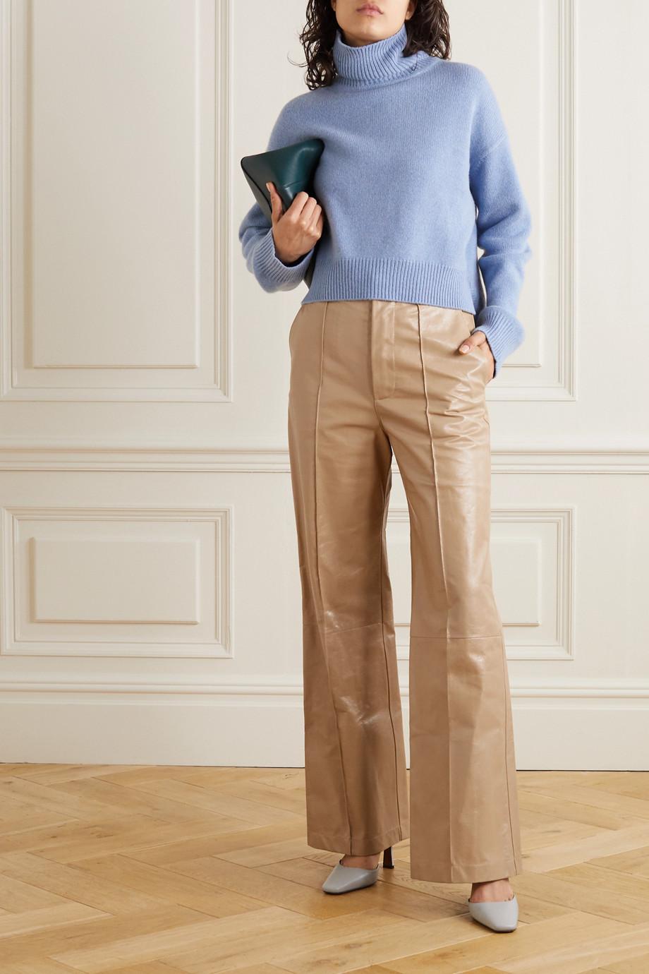 Marni Pantalon large en cuir à plis nervures