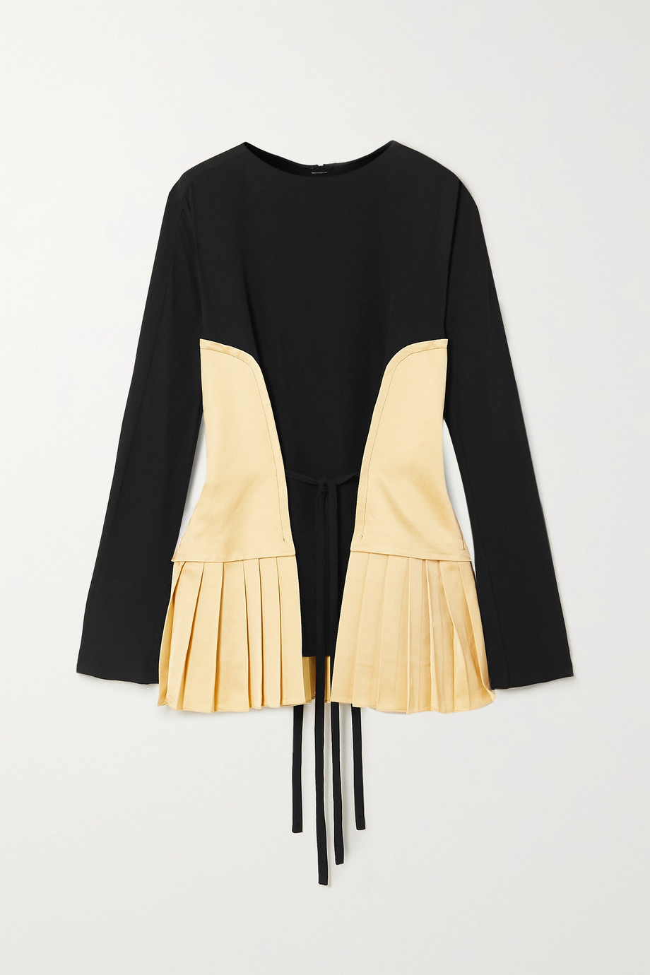Marni Pleated canvas and crepe blouse