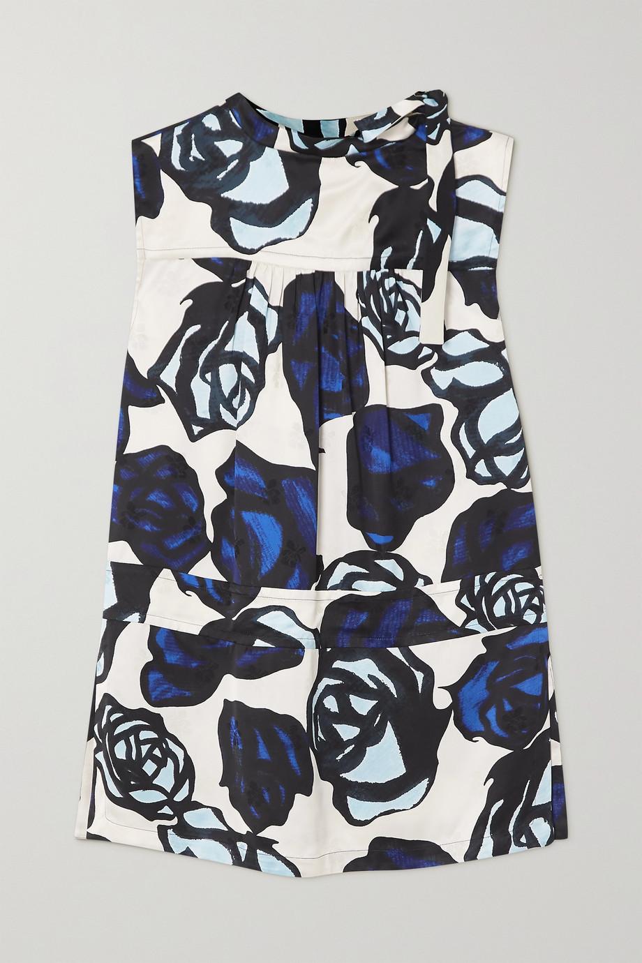 Marni Tie-detailed floral-print satin-jacquard blouse