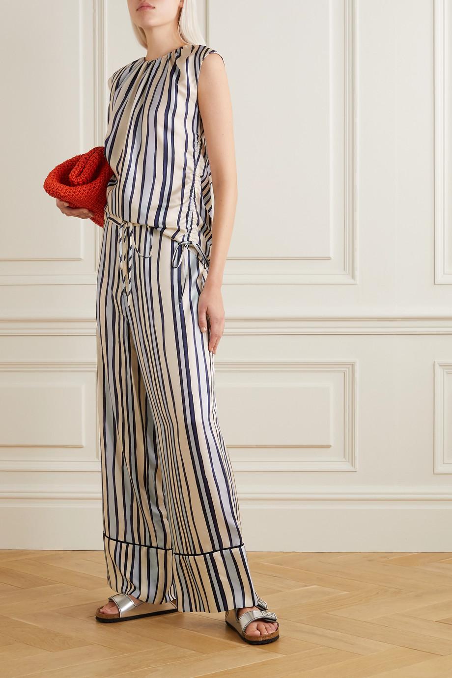 Marni Ruched striped silk-twill top