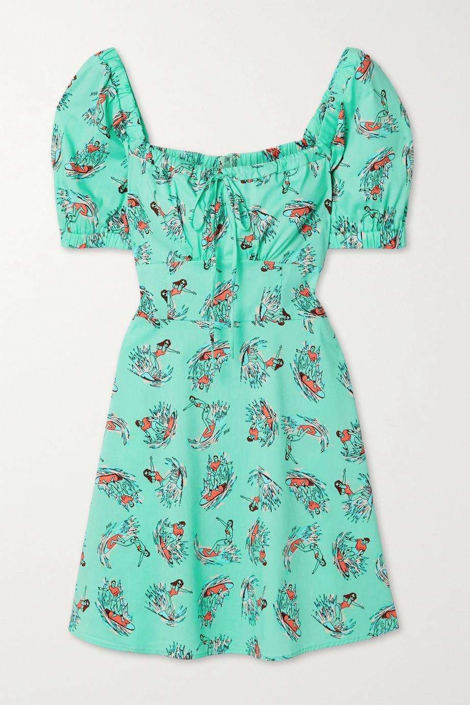 HVN Holland printed cotton-blend poplin mini dress